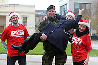 NO FEE PICTURES.30/11/11 Fair City Stars Ciara O'Callaghan (Yvonne Doyle) and Sam O'Mahony (Finn McGrath) with soldier Johnny Walker and Florence O'Neill who uses ALONE, at the launch of ALONE Christmas Campaign in Dublin. Pictures:Arthur Carron/Collins