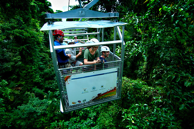Costa Rica, El Castillo, Sky Tram, Tourists Enjoying Views Of The Rainforest,  Arenal