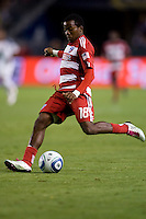 FC Dallas midfielder Marvin Chavez sends a ball downfield. FC Dallas defeated the LA Galaxy 3-0 to win the Western Division 2010 MLS Championship at Home Depot Center stadium in Carson, California on Sunday November 14, 2010.