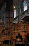 Architectural Detail, Papal and Imperial Busts over Pulpit, Nave, Cathedral of Siena, Santa Maria Assunta, Siena, Italy