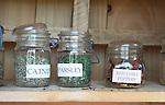 Garden herbs catnip, parsley, red chili peppers in mason jars