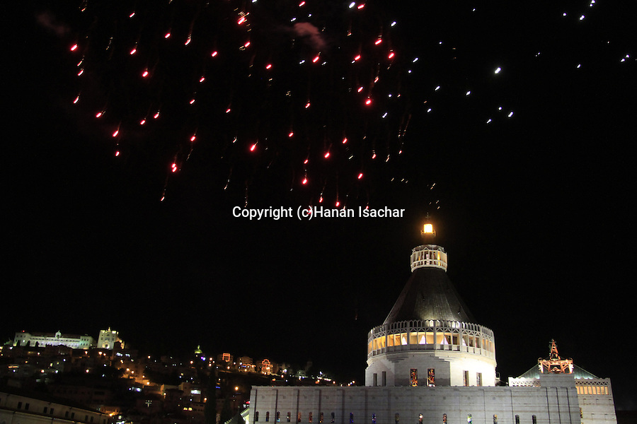 Israel, Christmas in Nazareth, fireworks over the Church of the Annunciation