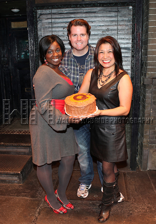The cast of 'Avenue Q' - Danielle K. Thomas, Nicholas Kohn and Hazel Anne Raymundo celebrating their 3rd Anniversary Off-Broadway at The World Stages on 10/22/2012 in New York City.