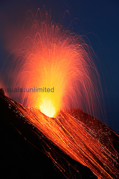Nighttime eruption of Stromboli Volcano, Eolian Islands, Italy. 2006.