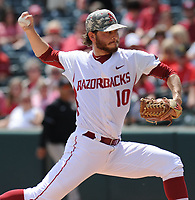 NWA Democrat-Gazette/ANDY SHUPE<br />Arkansas starter Josh Alberius delivers to the plate against Georgia Saturday, April 15, 2017, during the first inning at Baum Stadium in Fayetteville. Visit nwadg.com/photos to see more photographs from the game.