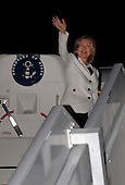 United States Secretary of State Hillary Rodham Clinton waves farewell to Sharm El Sheikh, Egypt, on Tuesday, September 14, 2010. .Credit: Department of State via CNP.