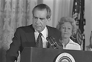 President Richard Nixon Resignation At White House In Washington On August 9th 1974 - A break in at the Democratic National Committee headquarters at the Watergate complex on June 17, 1972 results in one of the biggest political scandals the US government has ever seen.  Effects of the scandal ultimately led to the resignation of  President Richard Nixon, on August 9, 1974, the first and only resignation of any U.S. President.