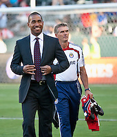 CARSON, CA – July 2, 2011: Chivas USA head coach Robin Fraser and goalkeeper coach Daniel Gonzalez before the match between Chivas USA and Chicago Fire at the Home Depot Center in Carson, California. Final score Chivas USA 1, Chicago Fire 1.
