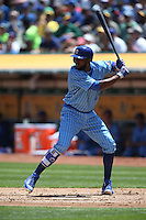 OAKLAND, CA - AUGUST 6:  Dexter Fowler #24 of the Chicago Cubs bats against the Oakland Athletics during the game at the Oakland Coliseum on Saturday, August 6, 2016 in Oakland, California. Photo by Brad Mangin