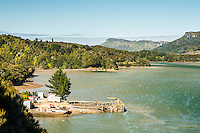Whanganui Inlet with jetty on west coast of South Island, Nelson Region, New Zealand