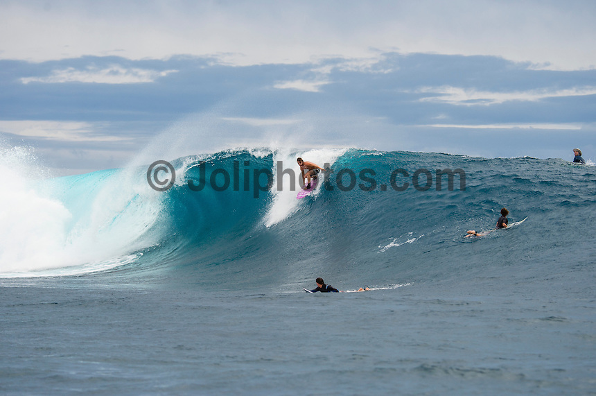 Namotu Island Resort, Namotu, Fiji. (Wednesday May 15, 2014) –  The swell was in the 2'-3' range today with overcast skies light winds. There were sessions at  Namotu Lefts, Wilkes and Cloudbreak around the tides.  Photo: joliphotos.com
