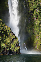 Stirling Falls in Milford Sound, Fiordland National Park, UNESCO World Heritage Area, Southland, New Zealand, NZ