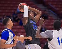 NWA Democrat-Gazette/J.T. WAMPLER Seton Hall's Angel Delgado takes down a rebound during practice Thursday Mar. 16, 2017 at the Bon Secours Wellness Arena in Greenville, South Carolina. The Hogs take on Seton Hall Friday in the first round of the NCAA Tournament.