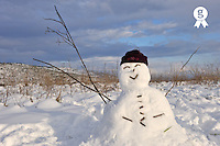 Snowman in snowfield, smiling attitude (Licence this image exclusively with Getty: http://www.gettyimages.com/detail/89958057 )