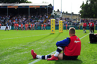 Chris Cook of Bath Rugby watches the action as he warms up on the sidelines. Aviva Premiership match, between Bath Rugby and Newcastle Falcons on September 10, 2016 at the Recreation Ground in Bath, England. Photo by: Patrick Khachfe / Onside Images