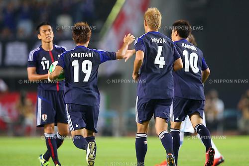 (L-R) Makoto Hasebe, Yoichiro Kakitani, Keisuke Honda, Shinji Kagawa (JPN), AUGUST 14, 2013 - Football / Soccer : <br /> KIRIN Challenge Cup 2013 match <br /> between Japan 2-4 Uruguay <br /> at Miyagi Stadium, Miyagi, Japan.<br />  (Photo by AFLO SPORT)
