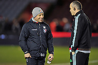 Leicester Tigers Director of Rugby Richard Cockerill has a chat with Harlequins Director of Rugby Conor O'Shea during the pre-match warm-up. Aviva Premiership match, between Harlequins and Leicester Tigers on February 19, 2016 at the Twickenham Stoop in London, England. Photo by: Patrick Khachfe / JMP
