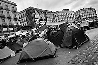 Spanish protesters (Los Indignados) camp in the tent city on Puerta del Sol square, Madrid, Spain, 7 June 2011.