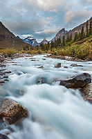 Arrigetch creek, Xanadu, Arial and Calaban peaks in the distance, Arrigetch Peaks, Gates of the Arctic National park, Alaska.