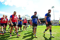 The Bath Rugby team make their way into the changing rooms prior to the match. Aviva Premiership match, between Bath Rugby and Sale Sharks on April 23, 2016 at the Recreation Ground in Bath, England. Photo by: Patrick Khachfe / Onside Images