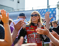 Sep 5, 2016; Clermont, IN, USA; NHRA top fuel driver Leah Pritchett greets fans prior to the US Nationals at Lucas Oil Raceway. Mandatory Credit: Mark J. Rebilas-USA TODAY Sports