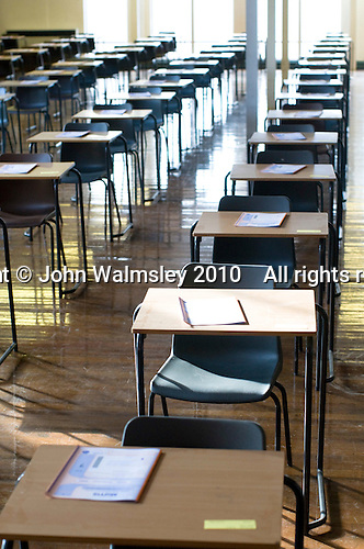 Empty exam hall ready for the students, state secondary school.