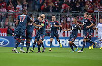 FUSSBALL   CHAMPIONS LEAGUE   SAISON 2013/2014   Vorrunde FC Bayern Muenchen - ZSKA Moskau       17.09.2013 Jerome Boateng, David Alaba, Philipp Lahm, Arjen Robben, Rafinha, Toni Kroos (v.l., alle FC Bayern Muenchen) jubeln nach dem 1:0