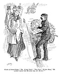 """Vendor of pirated songs. """"'Er y'are, lidy! ''Oly City,' 'Bu'ful Star, Hi cawn't think why Hi lubs yer, but Hi do!'"""" ' (an Edwardian street scene of a bootleg sheet music vendor and a middle class woman)"""