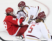 Jillian Saulnier (Cornell - 19), Emily Pfalzer (BC - 14) - The Boston College Eagles defeated the visiting Cornell University Big Red 4-3 (OT) on Sunday, January 11, 2012, at Kelley Rink in Conte Forum in Chestnut Hill, Massachusetts.