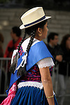 The Hispanic Parade in New York City. A woman representing Ecuador in the Hispanic Parade in New York City.