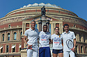 Sporting legends Mark Foster and Tim Henman launch the partnership between Champions Tennis and Sports Aid, at the Royal Albert Hall. Sports Aid helps young, British sports people and has been responsible for funding some of the country's top athletes. Picture shows: Mark Foster, Khai Riley-Laborde (hurdles), Jodie Anna Burrage (tennis), Tim Henman.