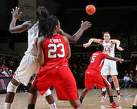 STANFORD, CA - January 25, 2013: Stanford Cardinal's Joslyn Tinkle passes to Chiney Ogwumike during Stanford's 65-44 victory over the Utah at Maples Pavilion in Stanford, California.
