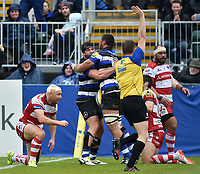 Taulupe Faletau of Bath Rugby celebrates scoring a try with team-mate Nathan Catt. Aviva Premiership match, between Bath Rugby and Gloucester Rugby on April 30, 2017 at the Recreation Ground in Bath, England. Photo by: Patrick Khachfe / Onside Images