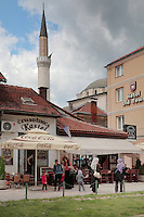 Hotel Old Town and behind, the minaret of the 16th century Gazi Husrev-beg Mosque, Sarajevo, Bosnia and Herzegovina. The city was founded by the Ottomans in 1461. Picture by Manuel Cohen