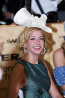 Author Candace Bushnell judging the Fashions on the Field at the 2008 Melbourne Cup race day.
