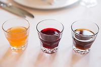 Turkish traditional sherbet drinks, Restaurant Asitane at Kariye, Edirnekapi in Istanbul - Cinnamon Hibiscus Tamarind sherbets