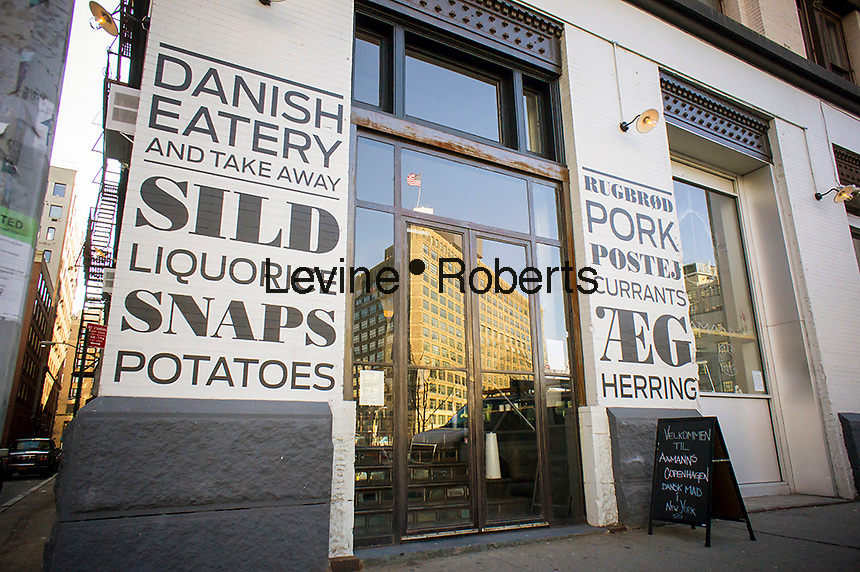 The typographically designed frontage of the newly opened Aamanns-Copenhagen Danish restaurant in the Tribeca neighborhood of New York seen on Saturday, January 5, 2013. The restaurant specializes in smørrebrod, a Danish open-faced sandwich. (© Richard B. Levine)