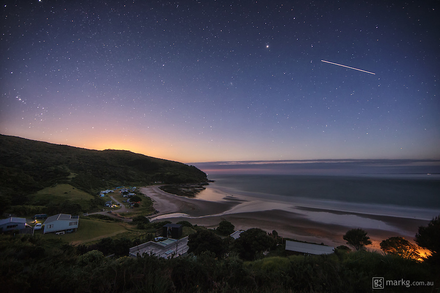 Just after early morning moonset on the 4 January 2015, the International Space Station is seen travelling across the north western sky above Shipwreck Bay in Northland, New Zealand.