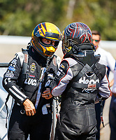 Mar 18, 2017; Gainesville , FL, USA; NHRA funny car driver Del Worsham (left) talks with Jonnie Lindberg during qualifying for the Gatornationals at Gainesville Raceway. Mandatory Credit: Mark J. Rebilas-USA TODAY Sports