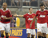 Javier Hernandez #14 of Manchester United  after he had scoredduring the 2010 MLS All-Star match against the MLS All-Stars at Reliant Stadium, on July 28 2010, in Houston, Texas. Manchester United won 5-2.