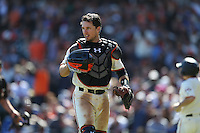 SAN FRANCISCO, CA - OCTOBER 2:  Buster Posey #28 of the San Francisco Giants walks off the field during the game against the Los Angeles Dodgers at AT&T Park on Sunday, October 2, 2016 in San Francisco, California. Photo by Brad Mangin