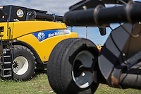 A New Holland Agriculture CR9070 Combine is seen at a Mazergroup New Holland Agriculture dealership in Portage La Prairie, Manitoba, Monday August 17, 2015. New Holland Agriculture is  a global brand of agricultural machinery produced by CNH Industrial.
