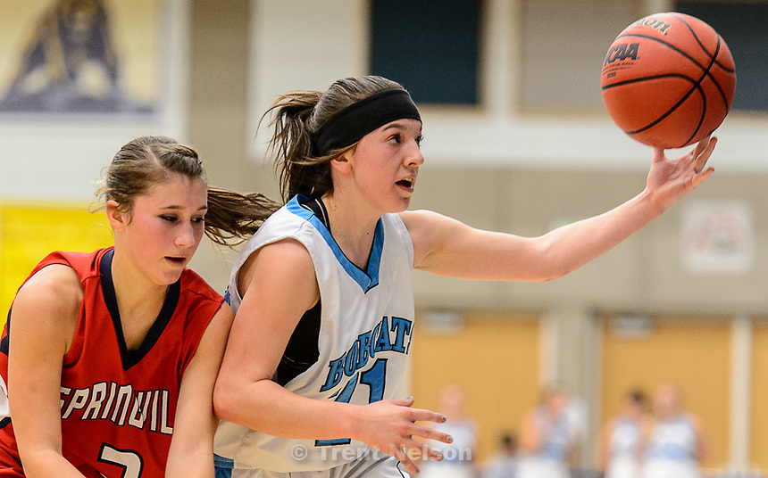 Trent Nelson  |  The Salt Lake Tribune<br /> Sky View's Kylie Hale (21) grabs the ball, as Sky View faces Springville in the 4A state high school girls basketball tournament at Salt Lake Community College in Taylorsville, Tuesday February 17, 2015. Mountain View wins 54-49.