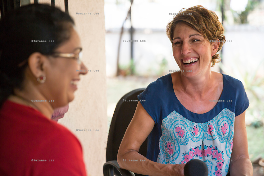 Tamsin Greig, an actress from the United Kingdom, interviews an Oasis staff in Nirmal Bhavan, a rehabilitation home for trafficked and rescued girls run by Tearfund partner NGO Oasis India, in Mumbai, Maharashtra, India on 20 February 2014. Photo by Suzanne Lee/Tearfund