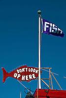 The Crab Cooker, Fish Restaurant, Flag, Banner, Balboa Peninsula, Newport Beach, CA