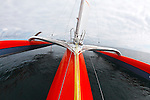 Onbord the Trimaran Sodebo  with the skipper Thomas coville  in Preparation for La Route du Rhum La Banque Postale  2010.