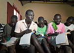 Children studying in a school supported by the Lutheran World Federation, a member of the ACT Alliance, in the Ajuong Thok Refugee Camp in South Sudan. The camp, in northern Unity State, hosts thousands of refugees from the Nuba Mountains, located across the nearby border with Sudan. LWF is launching an accelerated learning program to help older children who are often stuck in classrooms with younger classmates.