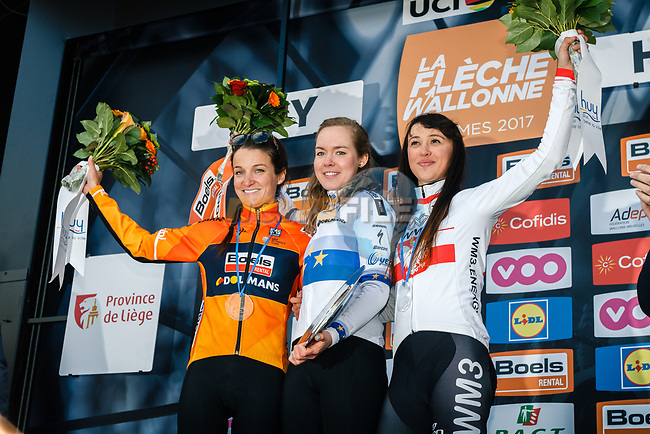 Anna Van Der Breggen (NED) Boels Dolmans Cyclingteam wins with team mate Elizabet Deignan (GBR) in 2nd place and Katarzyna Niewiadoma (POL) WM3 Pro Cycling 3rd on the podium at the end of La Fleche Wallonne Femme 2017, Huy, Belgium. 19th April 2017.  Photo by Thomas van Bracht / PelotonPhotos.com