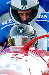 20 November 2005: Simone Bertazzo leads the Italy 1 sled pushoff in the first run of the 2005 FIBT AIT World Cup Men's 4-Man Bobsleigh Tour, piloting the team to a 3rd place, bronze medal finish at the Verizon Sports Complex, in Lake Placid, NY. Mandatory Photo Credit: Ed Wolfstein.