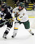 30 November 2009: University of Vermont Catamount defenseman Drew MacKenzie, a Sophomore from New Canaan, CT, in action against the Yale University Bulldogs at Gutterson Fieldhouse in Burlington, Vermont. The Catamounts shut out the Bulldogs 1-0 in a rematch of last season's first round of the NCAA post-season playoff Tournament. Mandatory Credit: Ed Wolfstein Photo